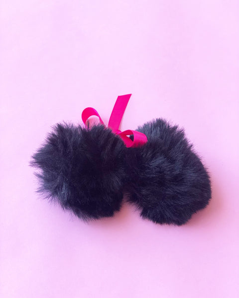 Black Pom Pom Hair Ties
