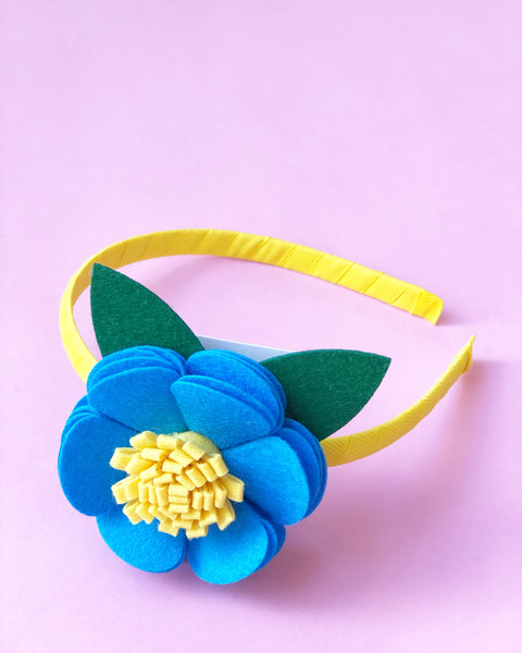 Blue and Yellow Flower Headband
