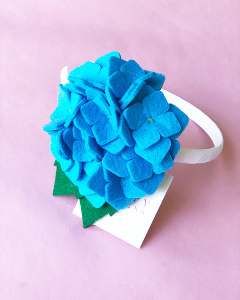 Blue Hydrangea Flower Headband