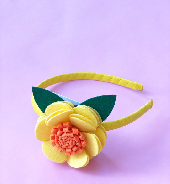 Yellow and Orange Flower Headband