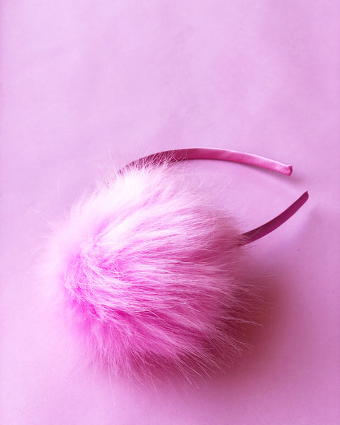 Bubble Gum Pink Faux Fur Pom Pom Headband