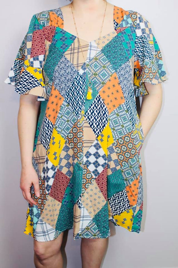 Quilt Pattern Flaring Sleeves Dress