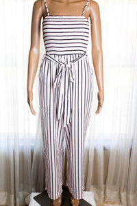 Striped Smocking Top Jumpsuit