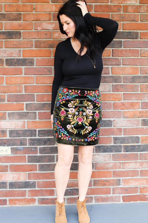 Embroidered Velvet Skirt