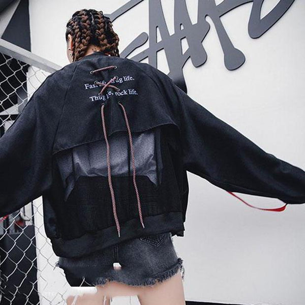 LACE UP BOMBER JACKET - VirginHype