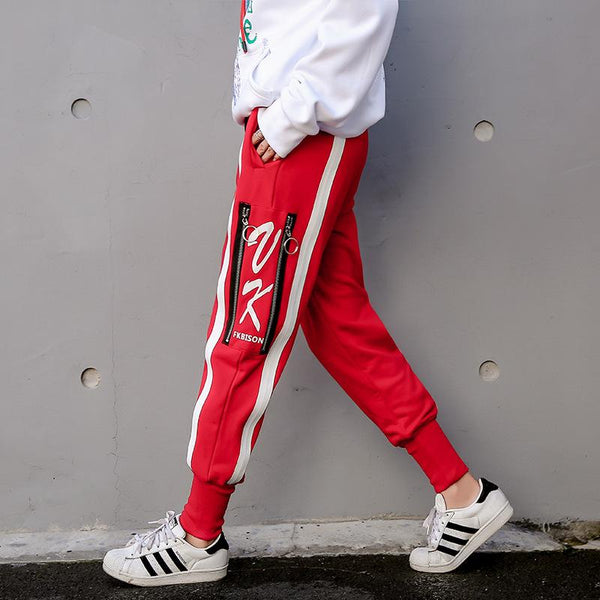STRIPE ZIPPER JOGGERS - VirginHype