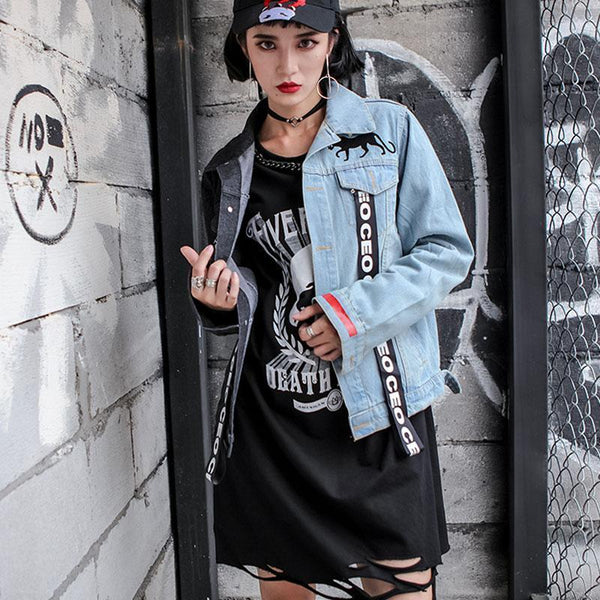 """PANTHER"" MIXED DENIM JACKET - VirginHype"