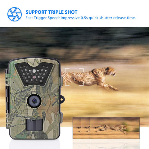 "Game & Trail Camera 1080P FHD 12MP Waterproof Wildlife Cameras 120 Degrees Detect Angle/Infrared Night Vision/Motion Activated/0.5s Trigger Speed Surveillance Camera with 2.4"" LCD Screen & 42pcs IR LEDs"