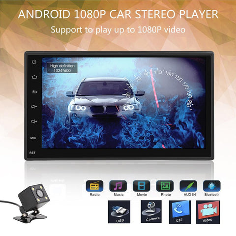 "Slim 7"" 2 DIN Android 5.1 Autoradio Bluetooth GPS Navigation 1080P Car Stereo MP5 MP3 Player Fully Capacitive Touch Screen 1G/16G Support FM with USB 3G WIFI Rear Camera"