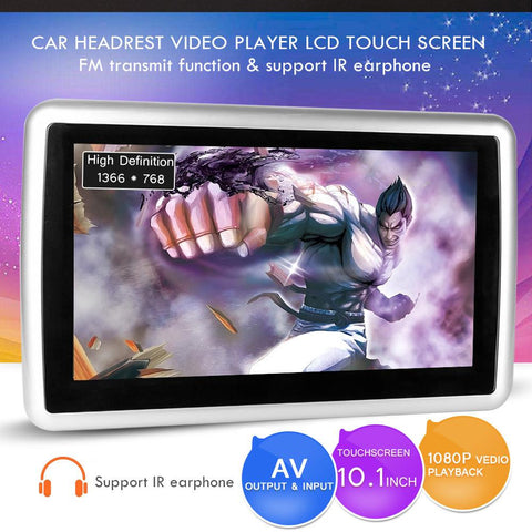 Universal 10.1 inch 1080P Car Headrest DVD Player LCD Touch Screen Support USB/SD/FM/AUX/IR