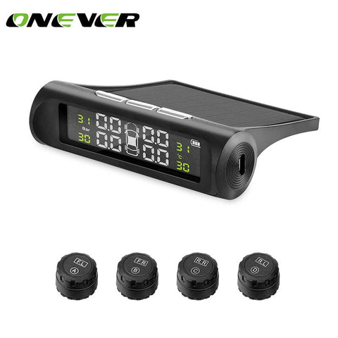 Onever TPMS Car Tire Pressure Monitoring System Solar Energy LCD Display 4 External Sensor Auto Alarm System Car electronics