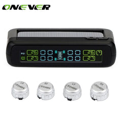 Onever TPMS Car Tire Pressure Monitoring System Solar power LCD Color Display 4External Sensor Auto Alarm System Car electronics