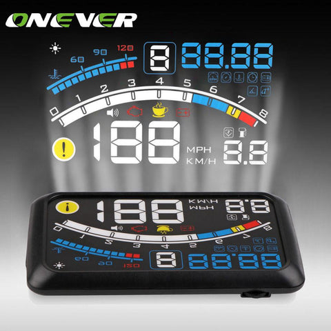Onever Universal 5.5'' Car HUD Head Up Display OBDII Plug/Play Windshield Projector Digital Display Speed Warning/Fuel/KM/h/MPH