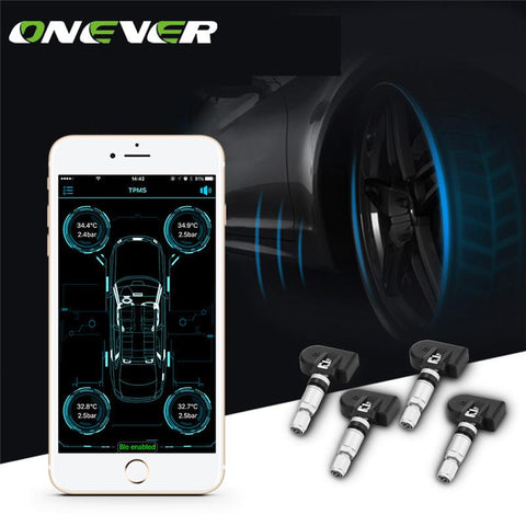 Onever Wireless Bluetooth 4.0 Car Digital Tire Pressure Alarm Monitor System TPMS with 4 Internal Sensors Support Phone APP