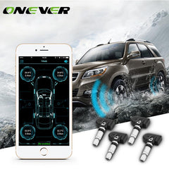 Onever Wireless Bluetooth 4.0 Car Tire Pressure Alarm Monitor System TPMS with 4 Internal Sensor For Iphone IOS Android AP