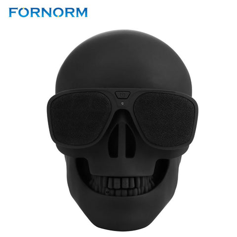 FORNORM Metallic Skull Head Shape Wireless Bluetooth Speaker Portable Stereo Rechargeable With 3.5mm Audio Input Music Player