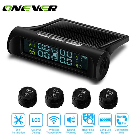 Onever TPMS Car Tire Pressure Monitoring System Solar Energy LCD Color Display 4 External Sensor Auto Alarm System Car Security