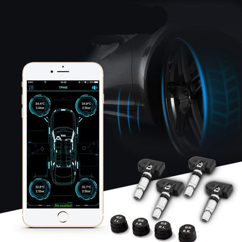 Onever Wireless Bluetooth 4.0 Car Tire Pressure Alarm Monitor System TPMS APP Display with 4 Internal/External Sensor