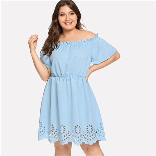 36703484f2 ... Load image into Gallery viewer, SHEIN Solid Ruffle Off the Shoulder  Plus Size Scalloped Hem ...
