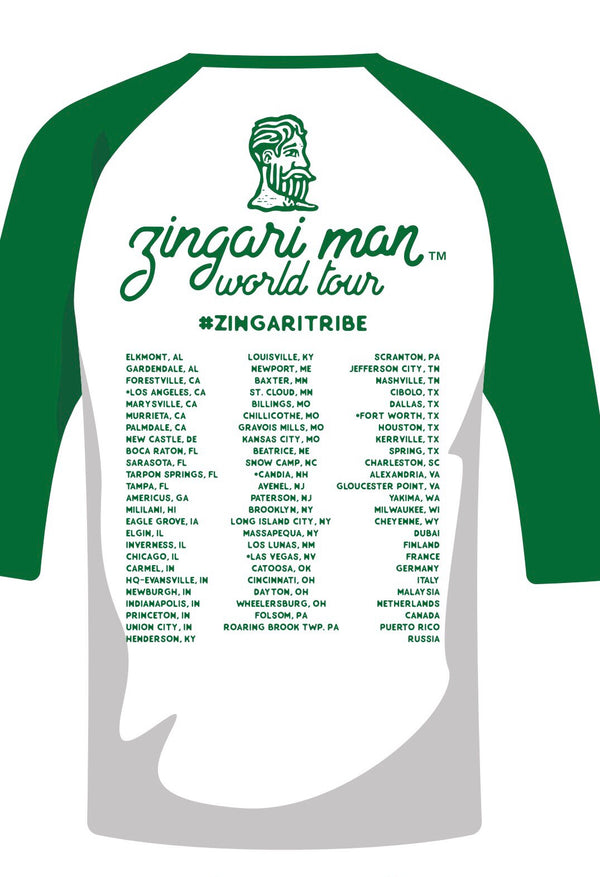 Zingari Tribe World Tour Baseball tee