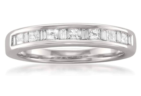 Custom Listing for Brandon East West Contoured Channel set Baguette Princess White Sapphire Wedding Band 18k White Gold