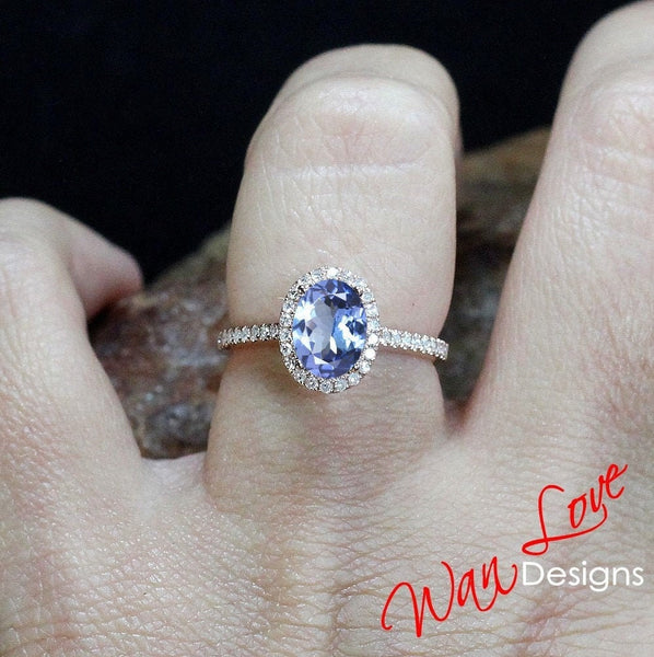 Tanzanite & Diamond Oval Halo Engagement Ring, 2ct, 8x6mm, 14k 18k White Yellow Rose Gold-Platinum-Custom made-Wedding-Anniversary Gift