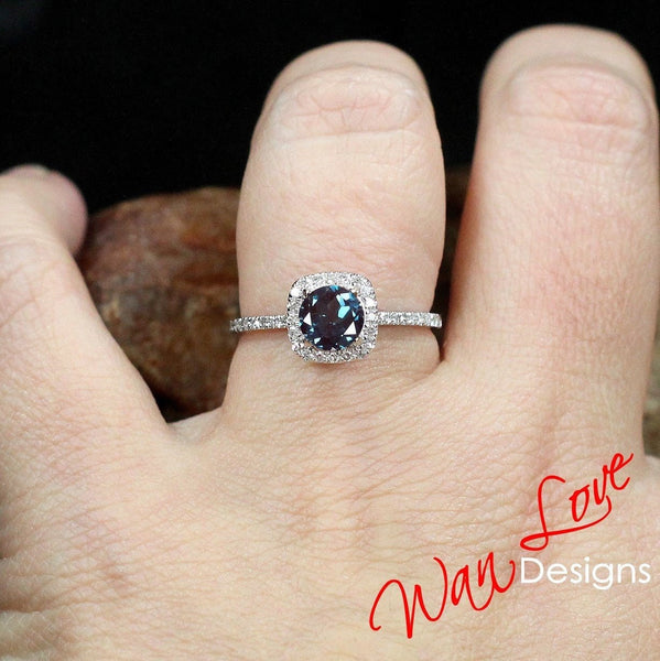 Alexandrite & Diamond Engagement Ring, Cushion Halo, Round cut, 1ct, 6mm, 14k 18k White Yellow Rose Gold-Platinum-Custom-Wedding-Anniversary