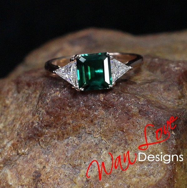 Emerald & Moissanite DEF 3 Gemstone Engagement Ring Princess Trillion 3.5ct-8mm-1ct-6mm-14k 18k White Yellow Rose Gold-Platinum-Custom
