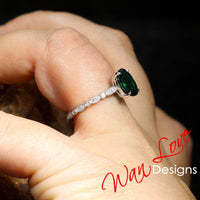 Emerald & Diamond Oval 3/4 Almost Eternity Round Bezel Leaf Engagement Ring, 3ct-9x7mm-Wedding-14k 18k White Rose Yellow Gold,platinum