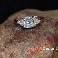 Forever One Moissanite 3 Gem Asscher Trillion Engagement Ring, DEF, Custom, 1.3ct, 6.5mm, 3.5mm, 14k White Rose Yellow Gold,Platinum,Wedding