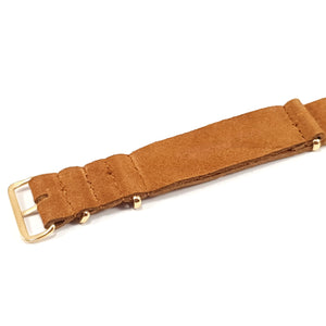 Leather NATO Strap Suede Brown with Gold