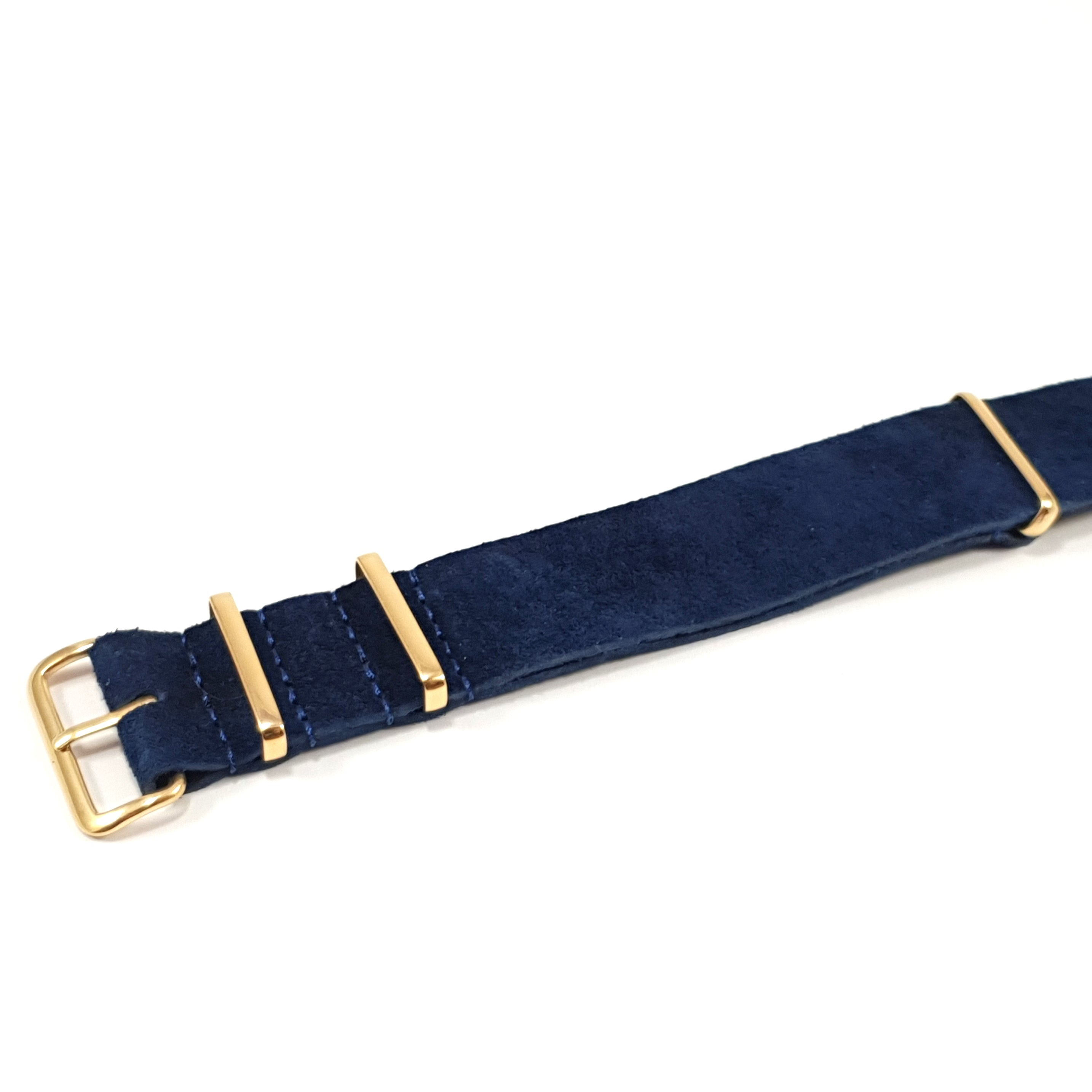 Leather NATO Strap Suede Navy with Gold