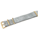 Leather NATO Strap Suede Gray with Gold