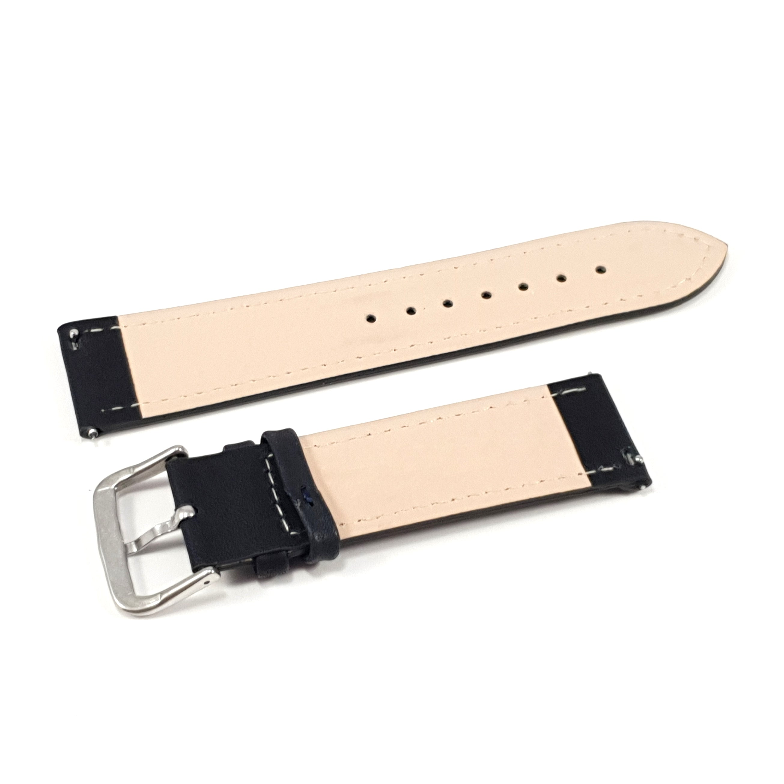 Leather Strap Classic Black with White Stitching