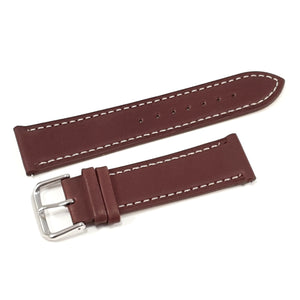 Leather Strap Classic Dark Brown with White Stitching