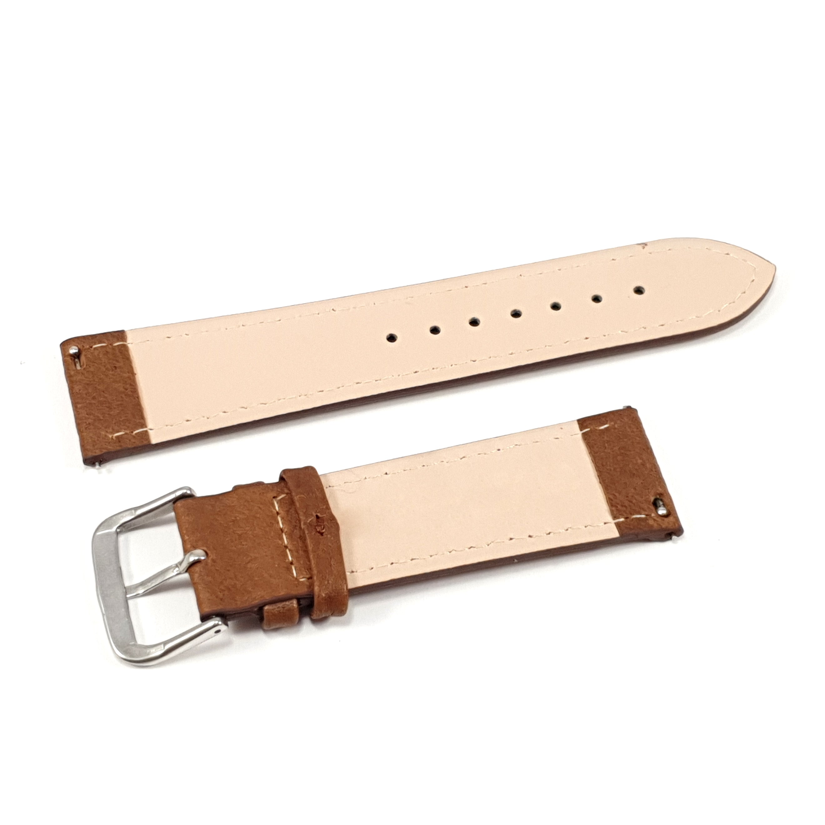 Leather Strap Classic Brown with White Stitching