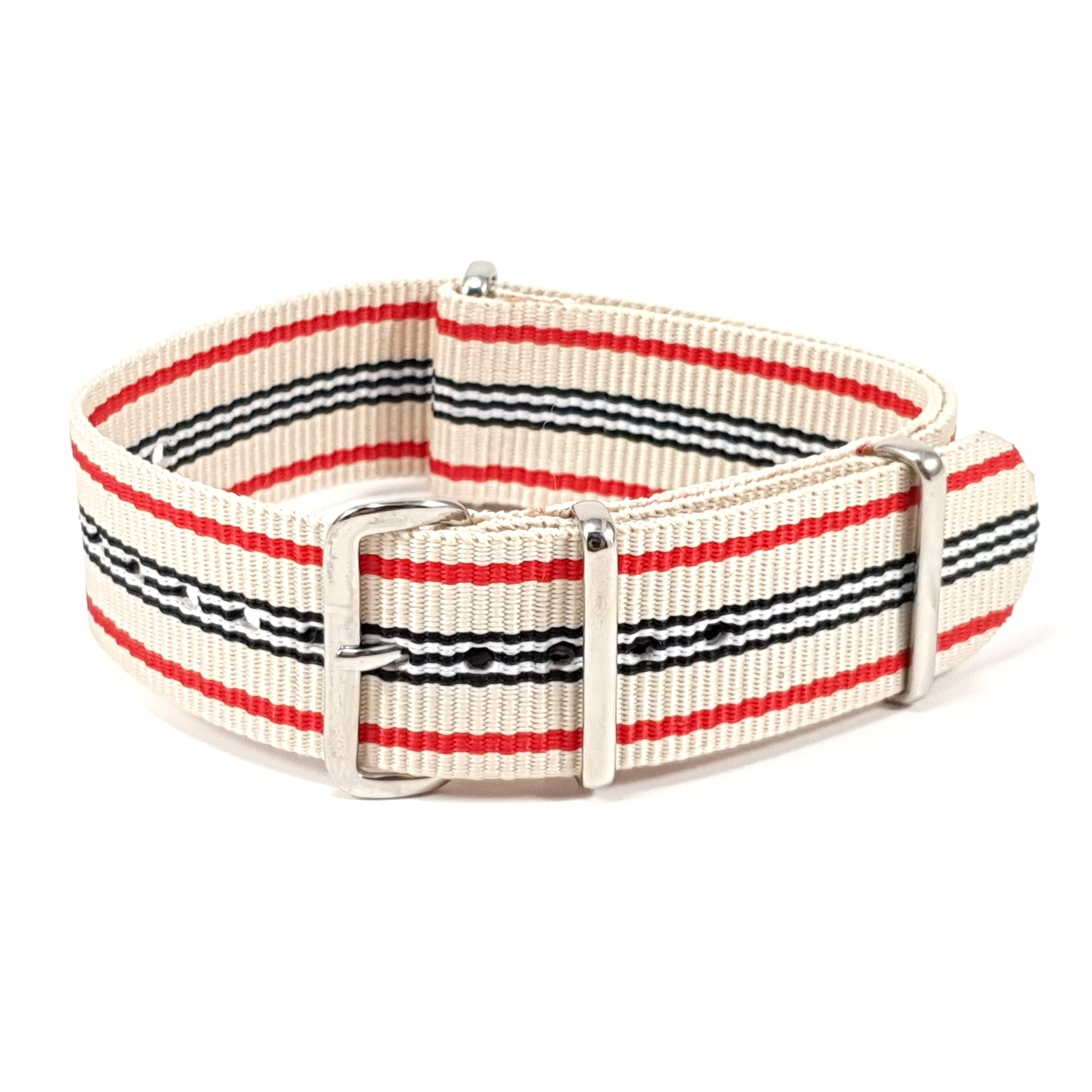 NATO Strap Striped Off White, Red, Black and White