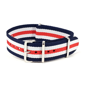 NATO Strap Striped Navy, White and Red ''All American''