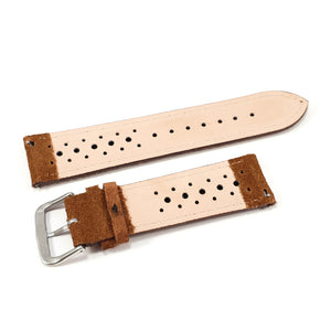 Leather Strap Racing Suede Golden Brown