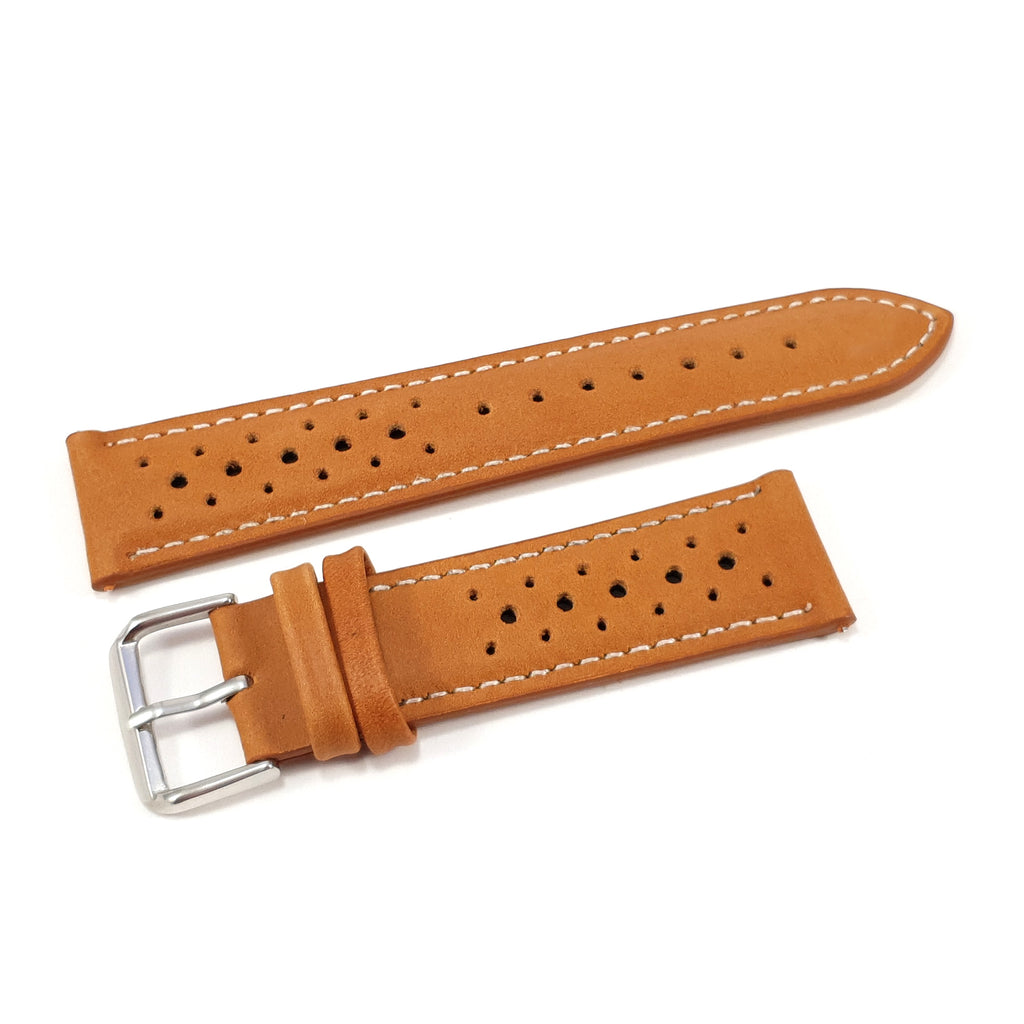 Leather Strap Racing Oak with White Stitching