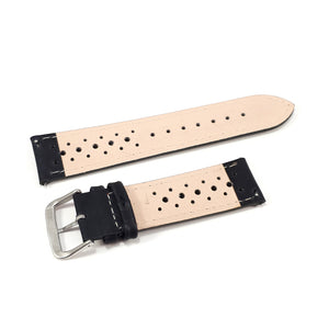 Leather Strap Racing Black with Red Stitching