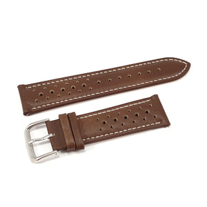 Leather Strap Racing Dark Brown with White Stitching