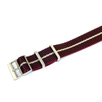 Adjustable Premier NATO Strap Striped Burgundy and Beige