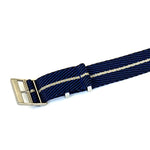 Adjustable Premier NATO Strap Striped Navy and Beige