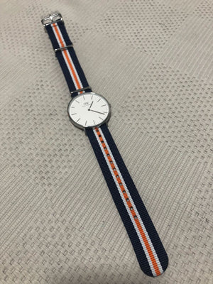 NATO Strap Striped Navy, White and Orange
