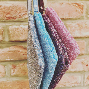 Sparkly Blue Clutch Bag with Leather Strap