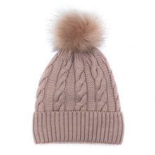 Load image into Gallery viewer, Dusty Pink Wool Mix Cable Knit Bobble Hat