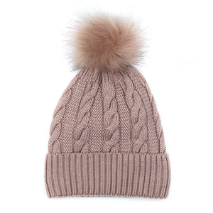 Dusty Pink Wool Mix Cable Knit Bobble Hat