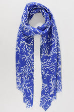Load image into Gallery viewer, Blue & White Coral Scarf