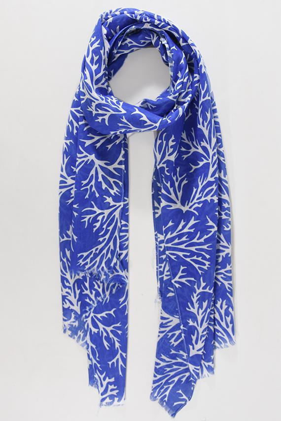 Blue & White Coral Scarf